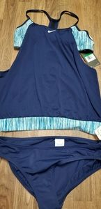 Nike layered tankini bathing suit blue and green